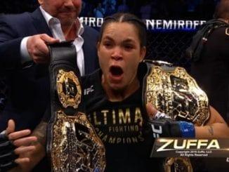 Contra canadense Felicia Spencer hoje, brasileira Amanda Nunes tornou-se a primeira do UFC a defender dois cinturões ao mesmo tempo.